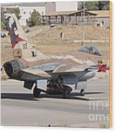 An Israeli Air Force F-16b Netz Taxiing Wood Print