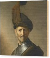 An Old Man In Military Costume Wood Print
