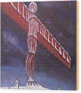 Angel Of The North Christmas Wood Print