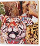Animal Collage, Digital Art Wood Print