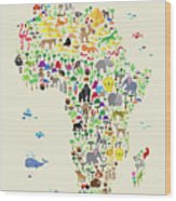 Animal Map Of Africa For Children And Kids Wood Print