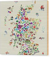 Animal Map Of Scotland For Children And Kids Wood Print