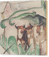 Animals In A Landscape Wood Print