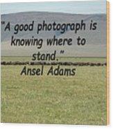 Ansel Adams Quote Wood Print