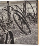 Antique Wagon Wheels I Wood Print