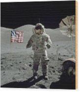 Apollo 17 Astronaut Stands Wood Print