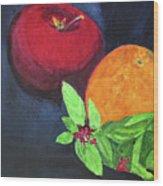 Apple, Orange And Red Basil Wood Print