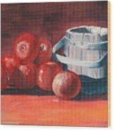 Apples - N - Wodden Basket Wood Print