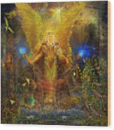 Archangel Michael-angel Tarot Card Wood Print by Steve Roberts