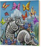 Armadillos Bluebonnets And Butterflies Wood Print