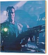 Arnold Schwarzenegger Firing Dual Em-1 Railguns Eraser 1996 Wood Print