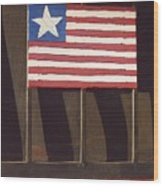 Art Homage Jasper Johns Flag Window Silver Dollar Bar Eloy Arizona 2004 Wood Print