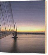 Arthur Ravenel Jr Bridge Sunrise Wood Print