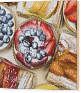 Assorted Tarts And Pastries Wood Print