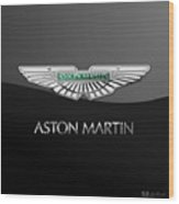 Aston Martin 3 D Badge On Black  Wood Print