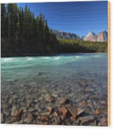 Athabasca River In Jasper National Park Wood Print by Mark Duffy
