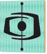 Atomic Shape 1 On Aqua Wood Print