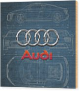 Audi 3 D Badge Over 2016 Audi R 8 Blueprint Wood Print by Serge Averbukh