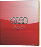 Audi - 3d Badge On Red Wood Print