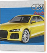 Audi Sport Quattro Concept with 3 D Badge  Wood Print