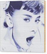 Audrey - Ballpoint Pen Art Wood Print