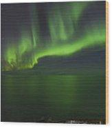 Aurora Borealis Over Iceland Shoreline Wood Print