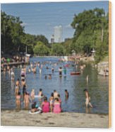 Austinites Love To Lounge In The Refreshing Waters Of Barton Springs Pool To Beat The Sizzling Texas Summer Heat Wood Print