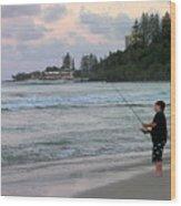 Australia - Fisherman At Greenmount Beach Wood Print