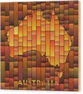 Australia Map Glasa In Orange Wood Print