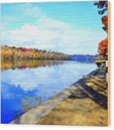 Autumn Afternoon On The Schuykill River Wood Print