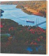 Autumn Along The Hudson Wood Print
