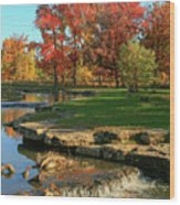 Autumn At The Deer Lake Creek Riffles In Forest Park St Louis Missouri Wood Print