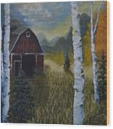 Autumn Red Barn  Wood Print