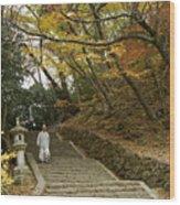 Autumn Stairway Wood Print