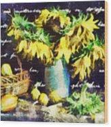 Autumn Sunflowers Wood Print