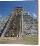 Aztec Pyramid In Mexico Wood Print