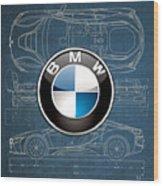 B M W 3 D Badge over B M W i8 Blueprint  Wood Print