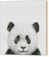 Baby Panda Watercolor Wood Print