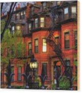 Back Bay Boston Brownstones In Spring Wood Print