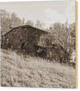 Back When Barn Sepia Wood Print