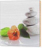 Balanced Stones And Red Flower Wood Print by Gunay Mutlu