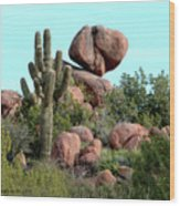 Balancing Act In The Arizona Desert 2 Wood Print