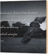 Bald Eagle In Flight With Bible Verse Wood Print