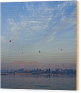 Ballooning Over The Nile Wood Print