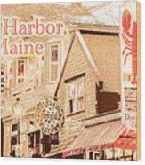 Bar Harbor Maine Shops At Night Wood Print