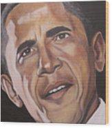 Barack Obama Wood Print by Kenneth Kelsoe