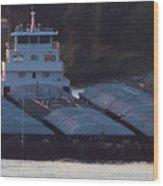 Barge On Mississippi River Wood Print