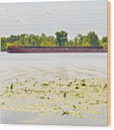 Barge On The Dnieper River Wood Print