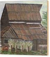 Barn and Cow Wood Print