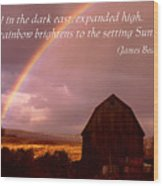 Barn And Rainbow Poster Wood Print